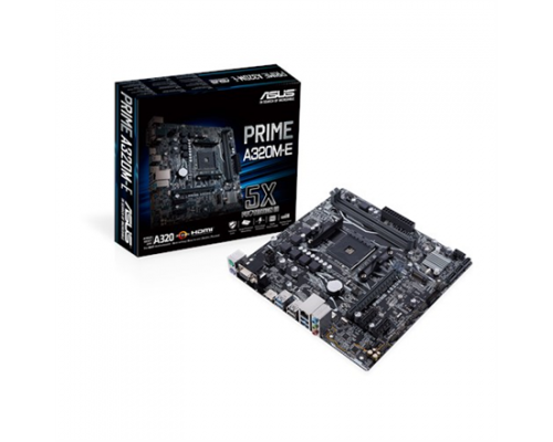 Asus PRIME A320M-E Processor family AMD, Processor socket AM4, DDR4-SDRAM 2133,2400,2666,2933,3200 MHz, Memory slots 4, Supported hard disk drive interfaces M.2, Number of SATA con