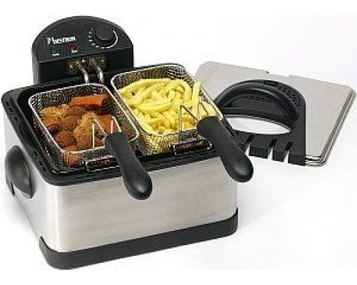 Bestron Family DF402B deep fryer - brushed stainless steel / black