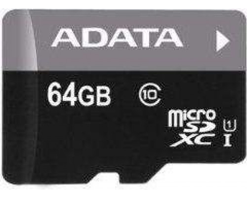 ADATA Premier MicroSDXC 64GB Class 10 UHS-I / U1 Card (AUSDX64GUICL10RA1)