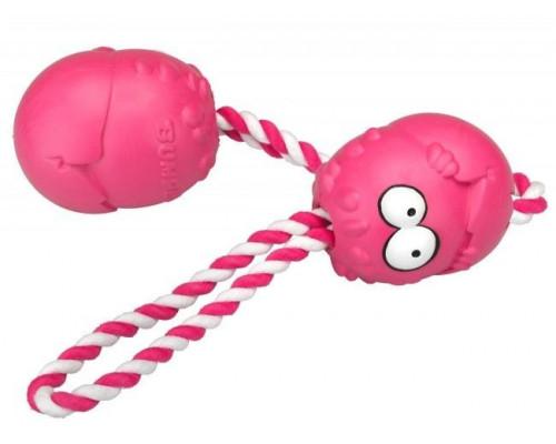 Suņu rotaļlieta EBI Coockoo Bumpies toy + Rope Rose Strawberry XL> 27kg 13x10x8.8cm